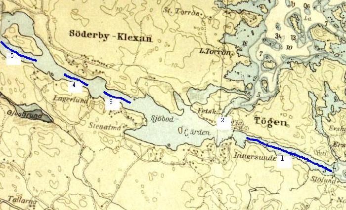 Sjökort över området